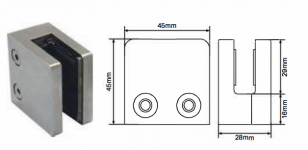 Slimline clamp - square front flat back